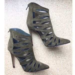Shoes - Olive green pointy caged heels
